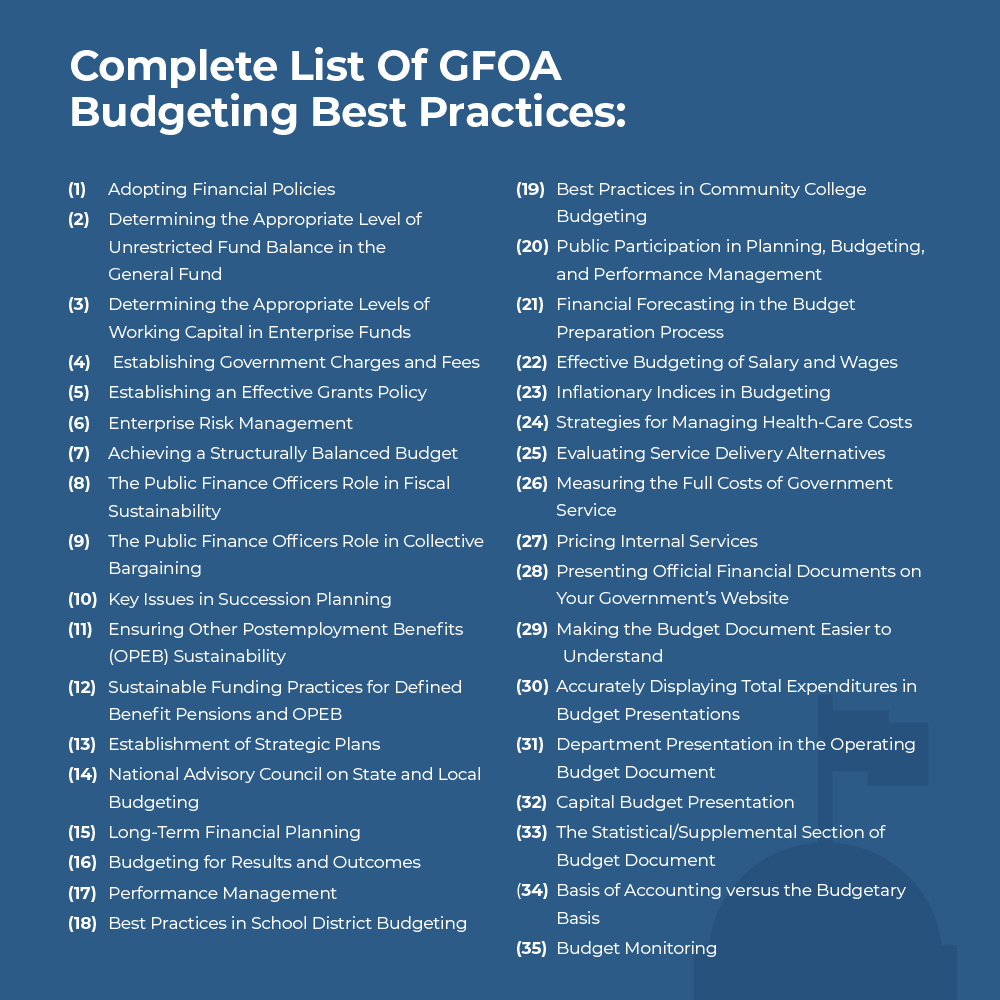 Complete List of GFOA Budgeting Best Practices